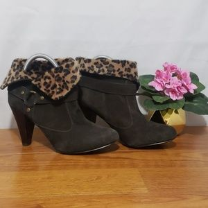 Style & Co Shoes - Style & Co Dark Brown Suede w/Faux Fur 3in. Heel